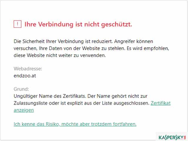 Kaspersky warnt vor Endzoo Webseite
