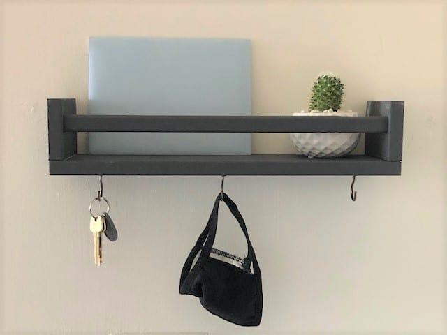 DIY Mail Holder with Shelf using IKEA Bekvam Spice Rack