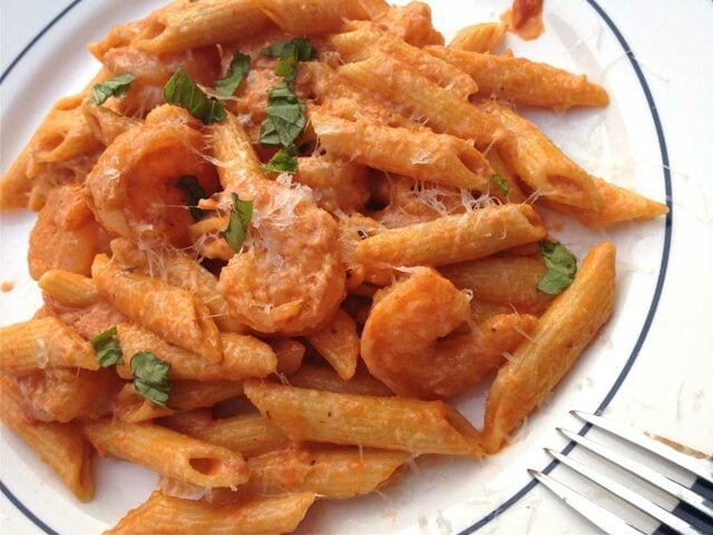 A creamy Shrimp and Penne Pasta with Creamy Marinara Sauce is a quick, easy and tasty meal for a busy night. ZagLeft