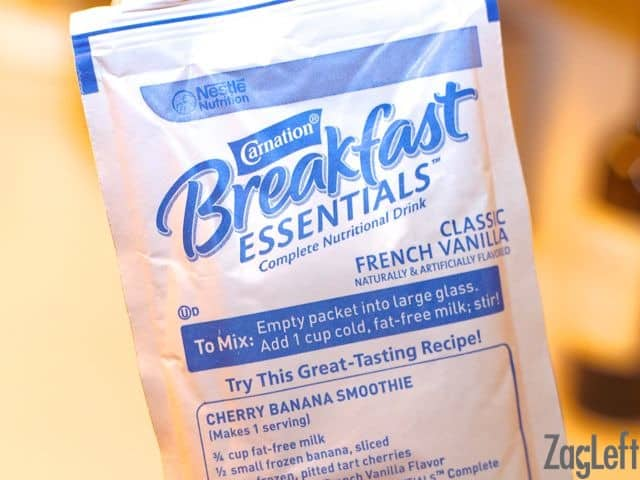 Closeup of a packet of Carnation Breakfast Essentials - French Vanilla flavor