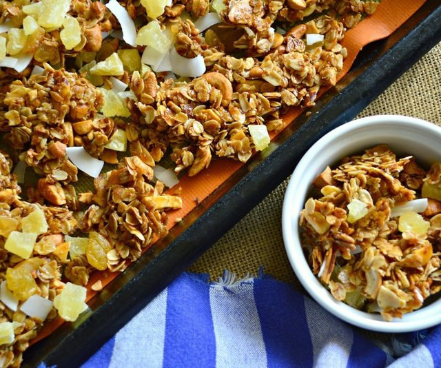 Coconut Granola with Pineapple and Cashews