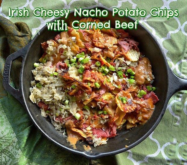 Irish Nachos with Cheese sauce and potato chips
