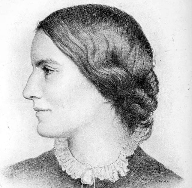 Octavia Hill. From a Drawing by Edward Clifford, 1877. This work is in the public domain in the United States because it was published (or registered with the U.S. Copyright Office) before January 1, 1923.