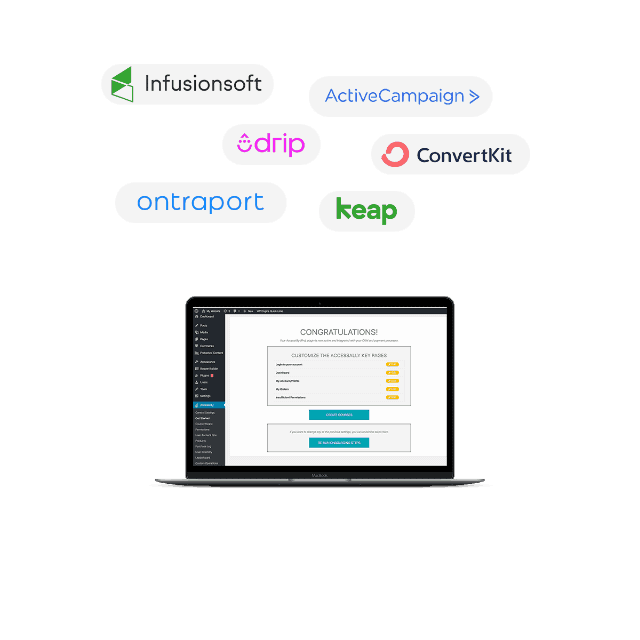 Laptop with screenshot of AccessAlly and Email Marketing Company Logos