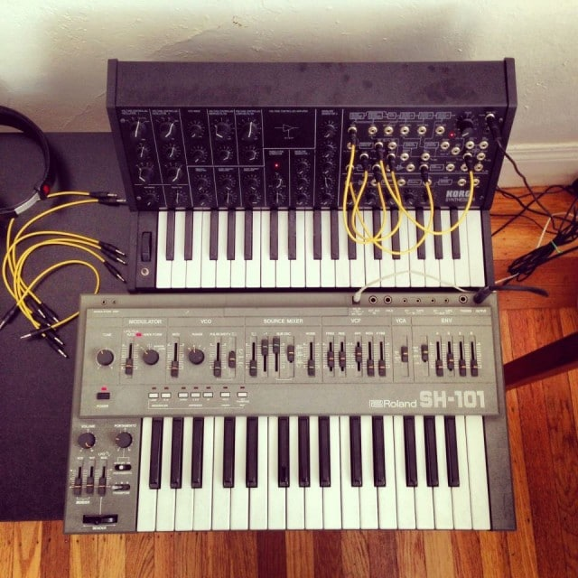 If the iPhone unnerves you and you want something a bit more ... nostalgic ... here's the MS-20 mini cozying up to long-time Japanese Korg rival Roland. Ebony and ivor... erm, gray. Photo by Deceptikon.