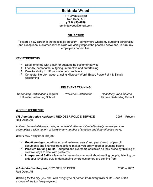 sample bartending resume 2