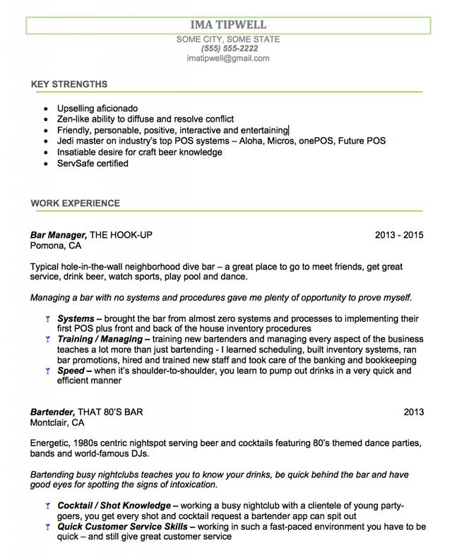 sample bartending resume