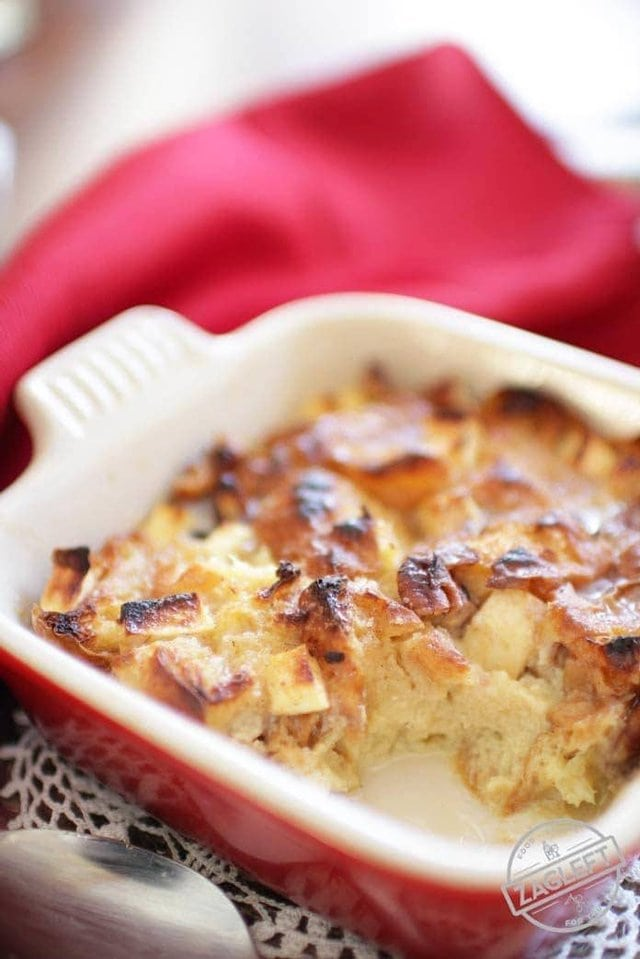 Apple and pecan filled breakfast bread pudding recipe | One Dish Kitchen