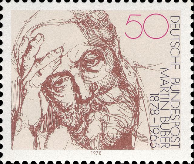 The picture of the Martin Buber stamp is taken from from Flickr and is reproduced under a Attribution-NonCommercial-ShareAlike 2.0 Generic (CC BY-NC-SA 2.0) Creative Commons licence. The photostream is listed as 'On Being'. photos/speakingoffaith/4970374742/