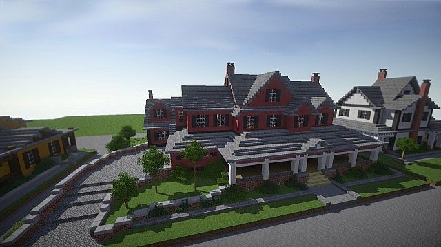 Red Old Mansion Minecraft building ideas