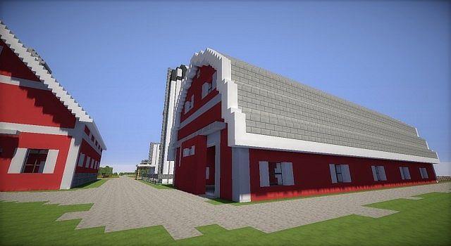 Minecraft Farm house red barn fields building ideas 4