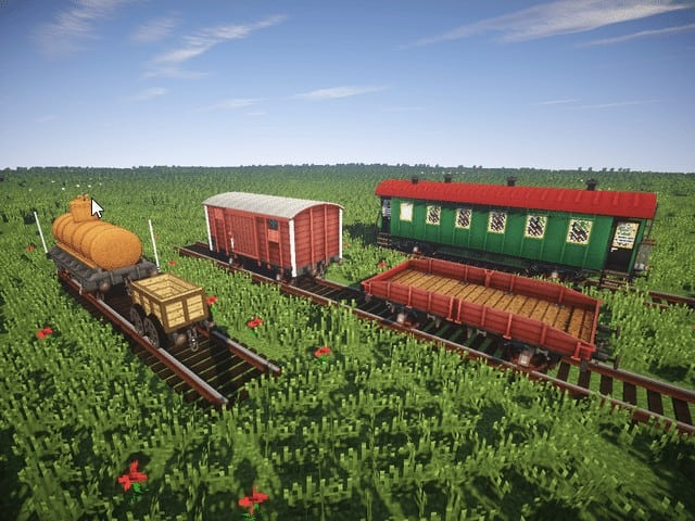 Minecraft Mod Rails of War Realistic tracks and trains models download amazing 3