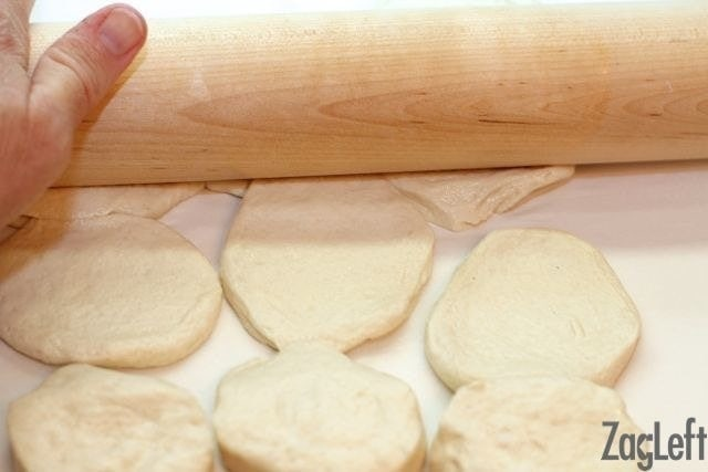 making cinnamon rolls for one- roll out the dough - zagleft