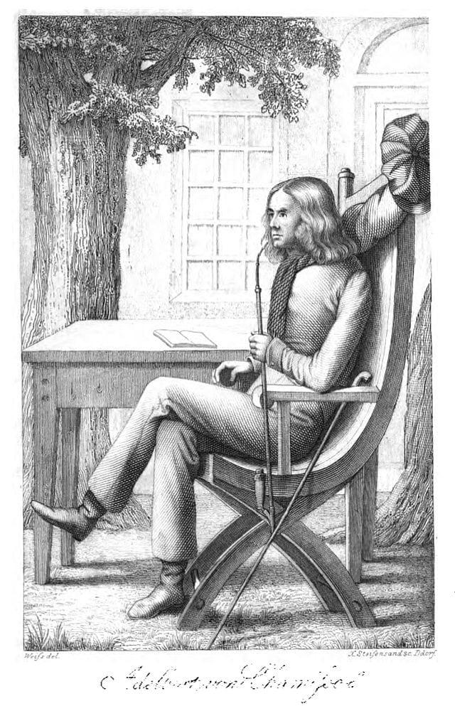 """Adelbert von Chamisso Bild aus """"Leben und Briefe des Adelbert von Chamisso"""", hg. v. Julius Eduard Hitzig, Leipzig 1839"""