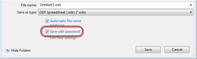 Save with password 6