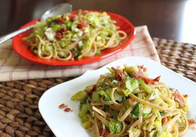 Brussels sprouts, bacon and sun-dried tomato pasta