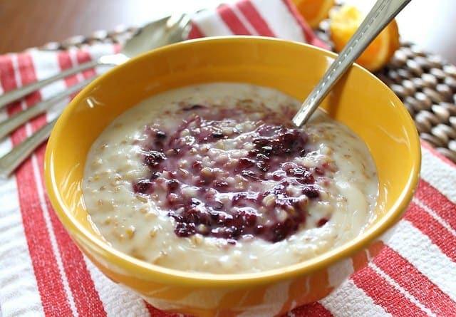 Steel cut oatmeal with blackberry sauce