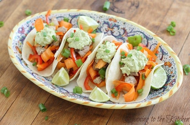 Soy and lime marinaded tuna tacos with a spicy avocado cream are a light and healthy lunch or dinner and a delicious alternative fish taco.