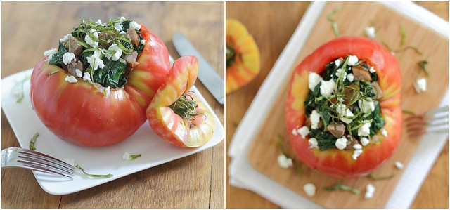 Stuffed heirloom tomatoes with sausage and kale