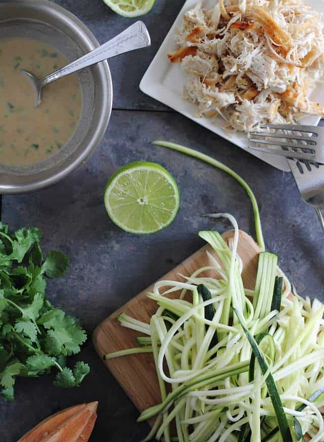 Thai chicken zucchini noodles in a creamy peanut sauce is an easy meal with a healthier spin than Traditional Thai cuisine.