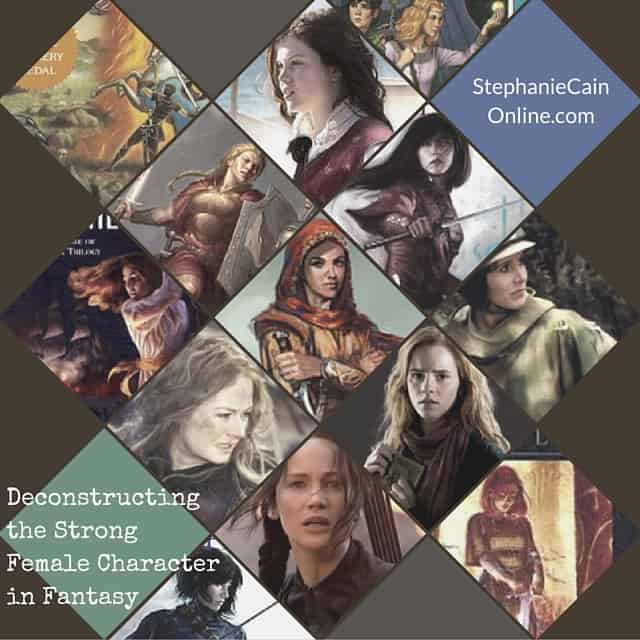 A collage of faces of strong female characters in fantasy literature