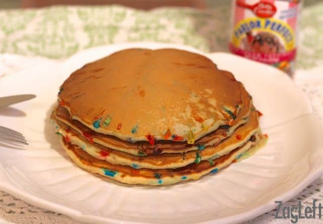 Cake Batter Sprinkle Pancakes from ZagLeft - a perfect birthday breakfast!
