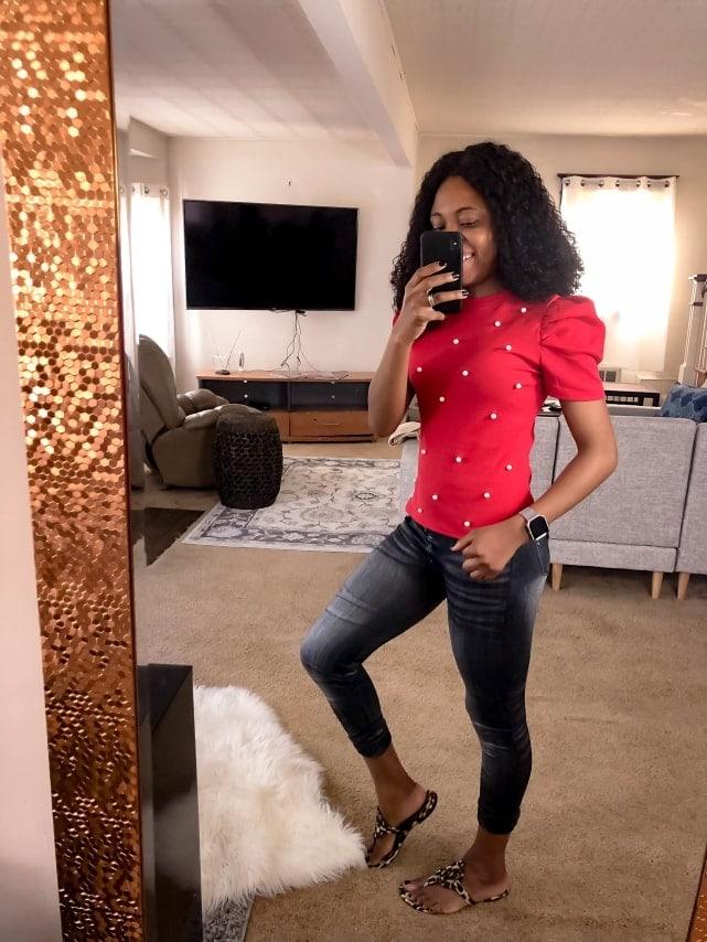 Amazon Fashion - Romwe Women's Elegant Pearl Embellished Puff Short Sleeve Blouse Tops