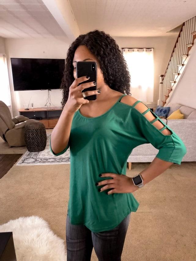 Amazon fashion haul Hollowed Sleeve Blouse