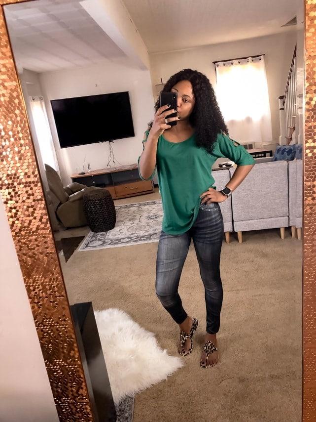Amazon Fashion CLOYA Women's Denim Print Fake Jeans Seamless Full Length Fleece Lined Leggings