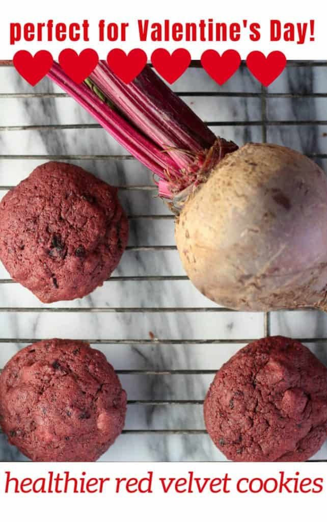 Healthier beet cookies red velvet cookies on a baking rack with a beet