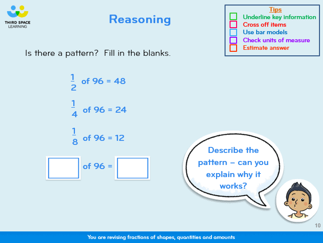 A reasoning slide taken from a 1-to-1 session on our SATs Booster Intervention Programme