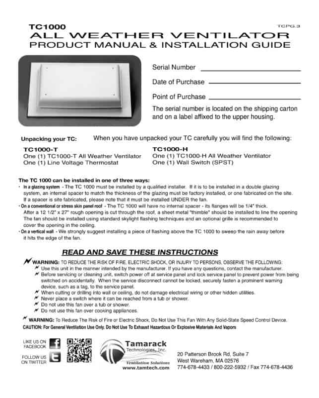 TC1000 Product Manual Page 1