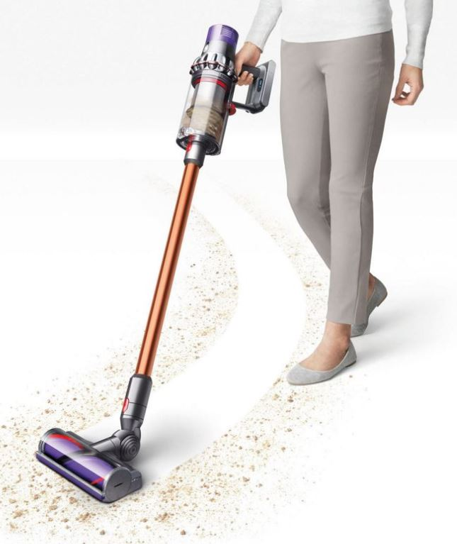 Dyson Cyclone V10 Absolute cord free stick vacuum is light weight and highly maneuverable on carpet and wood floors