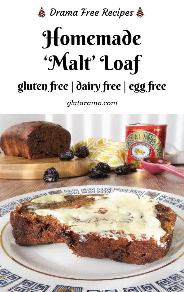 Gluten Free Homemade Malt Loaf, made with my malt substitute paste; this malt loaf is not only #glutenfree but it's also #dairyfree #eggfree and #vegan the perfect teatime treat for the whole family to enjoy and packed with fibre rich fruit too.