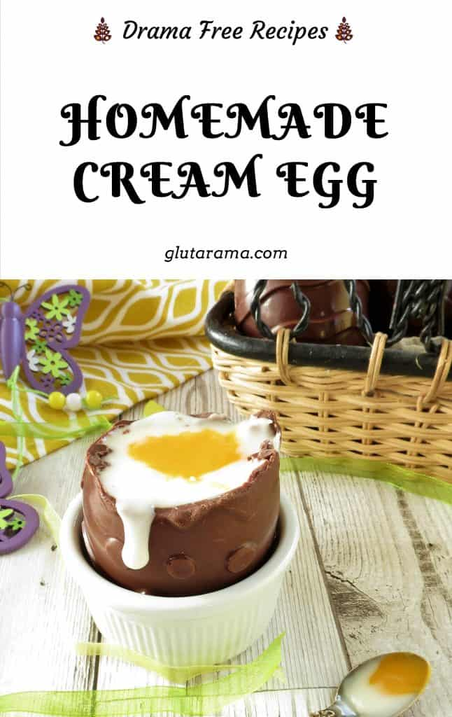 Supersized Creme Egg; this homemade version of the famous Cadbury's Creme Egg is not only gluten and dairy free, it's also twoce the size of a normal egg! #dairyfree #glutenfree #chocolateegg #easter #kidsinthekitchen #eastertgreats #creameggs #cremeeggs #eastereggs