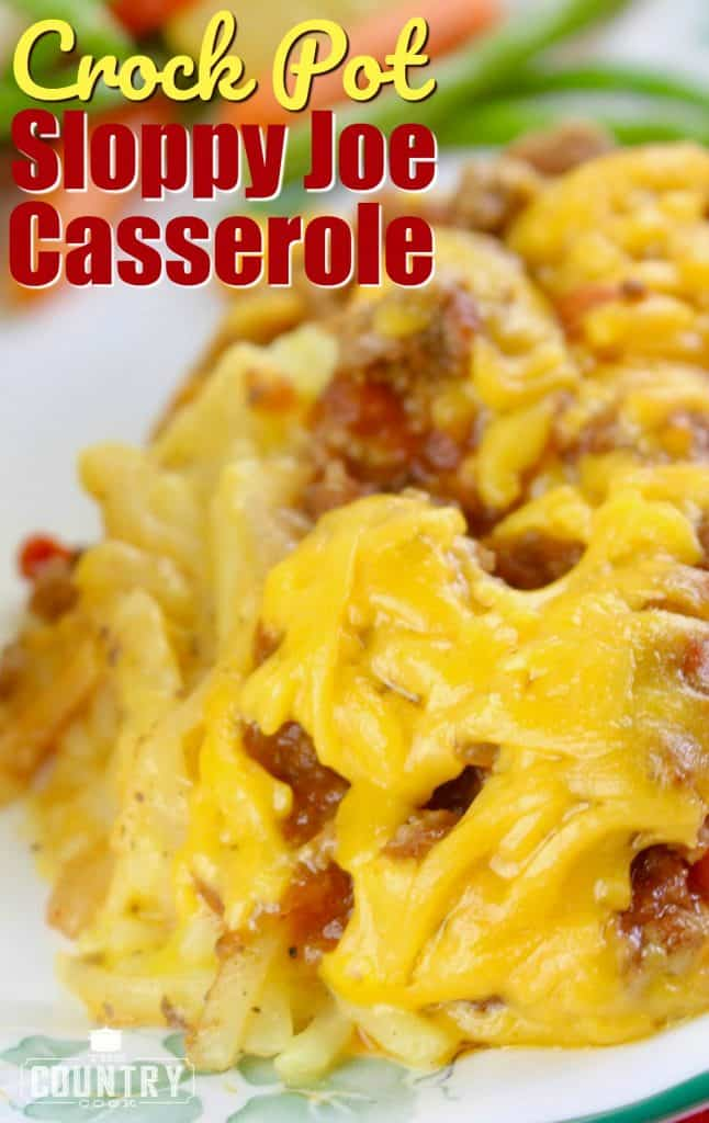 Crock Pot Sloppy Joe Casserole recipe from The Country Cook