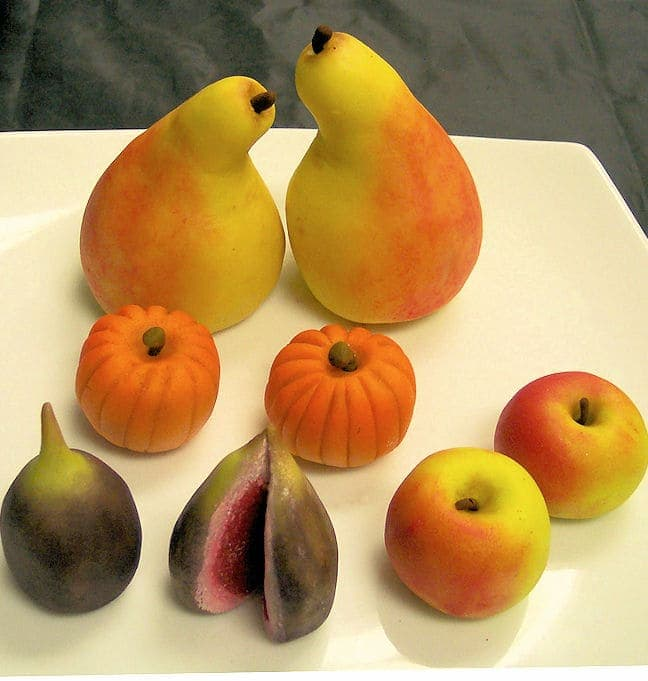 a plate of marzipanfruit