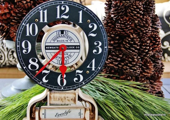 Even the clock got a Christmastime makeover