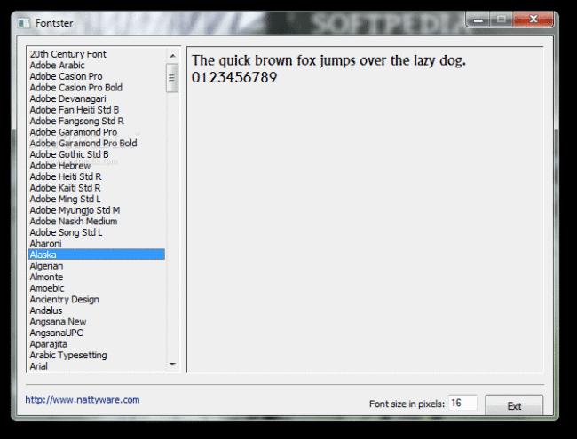 De interface van Fontster is eenvoudig.