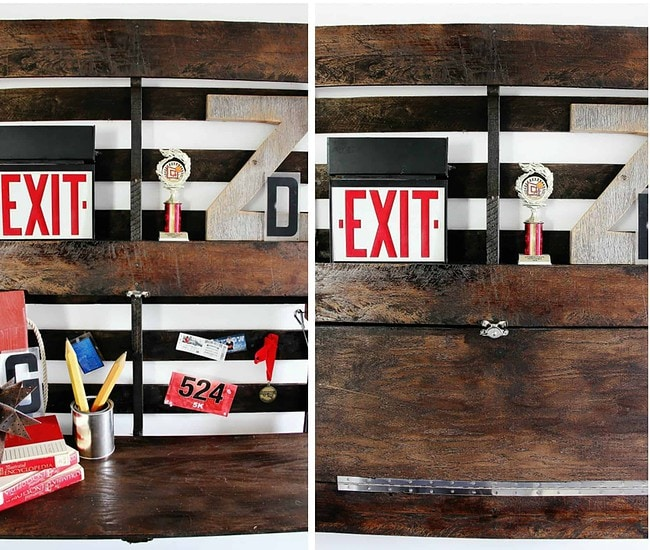 Stain the pallet a darker color and assemble your DIY fold up pallet desk against the wall.