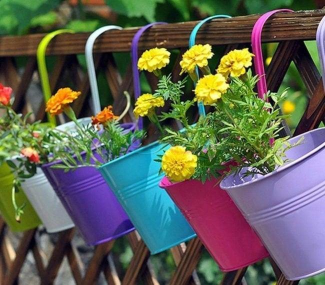 Украшаем забор цветами в горшках