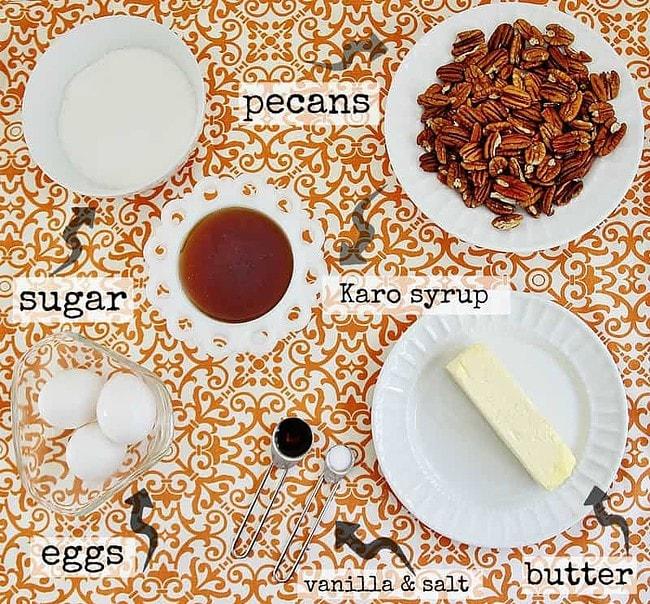 Ingredients for pecan pie recipe