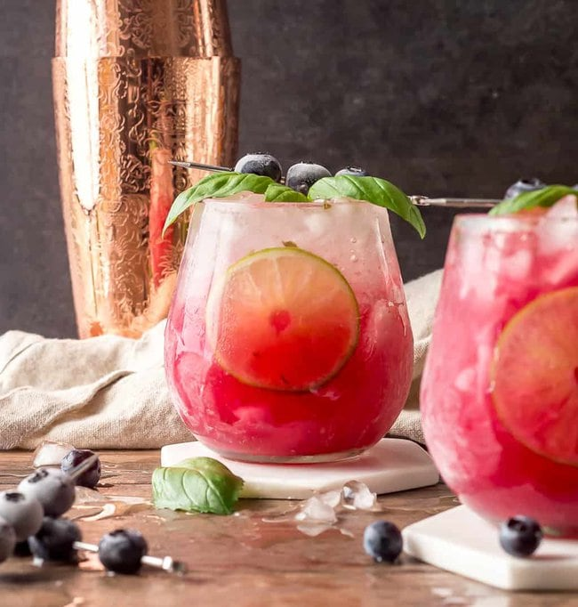 Basil Blueberry Margaritas with focus on back