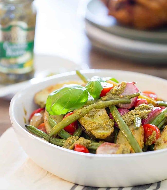 Healthy Potato Salad with Green Beans and Basil Pesto
