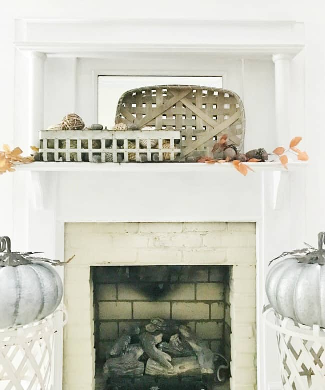 This fall mantel is easy to put together