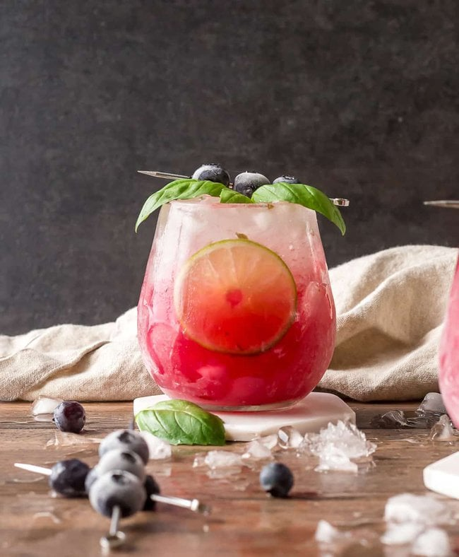 Single Basil Blueberry Margarita with Ice and garnish