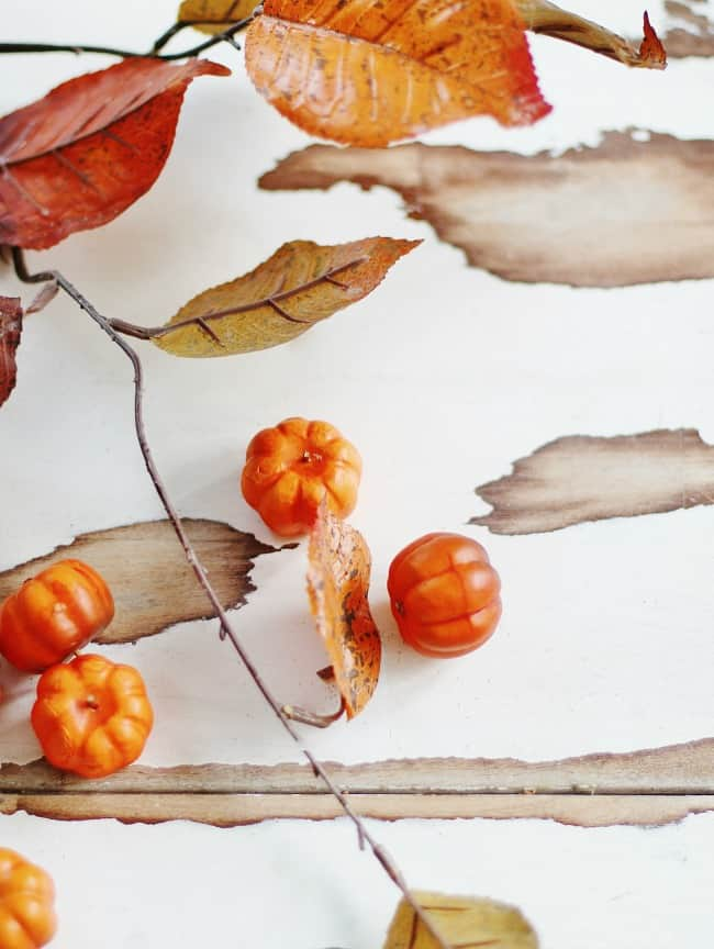 Fall leaves and pumpkins abound in decorations
