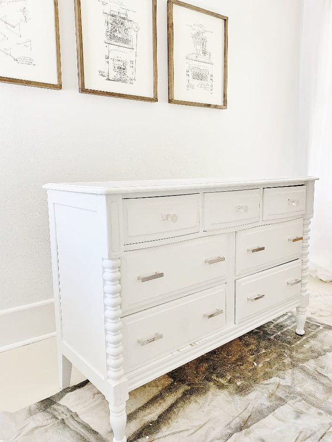 how to stencil wood dresser