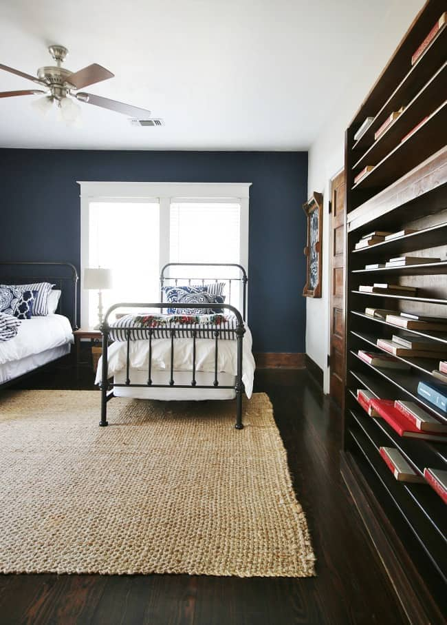 bedroom inspiration Navy bedroom with white trim and gorgeous shelves