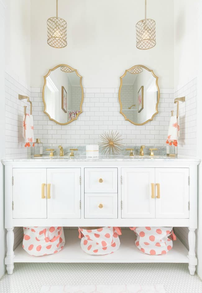 pink and brass bathroom now- quite a change?